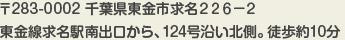〒283-0002 千葉県東金市求名226-2 東金線求名駅南出口から、124号沿い北側。徒歩約10分